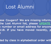 Lost alumni list